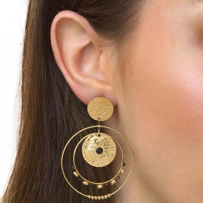 Boucles d'oreilles martelées soleil noir