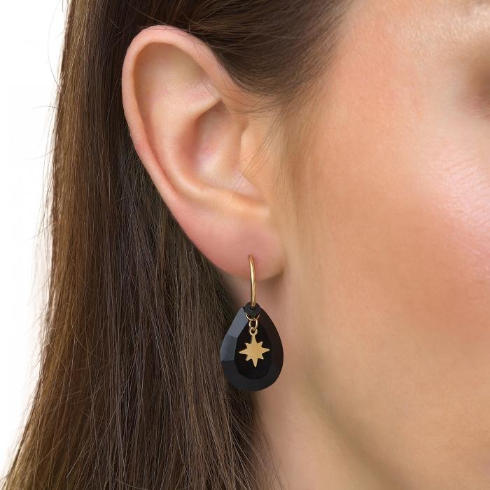 Boucles d'oreilles gouttes soleil noir