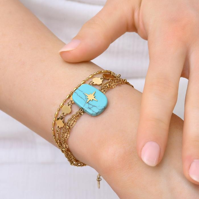 Bracelet 4 rangs turquoise soul
