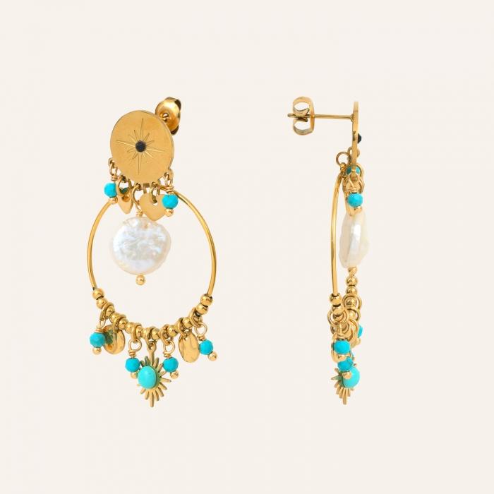 Boucles d'oreilles perles et pampilles turquoise soul