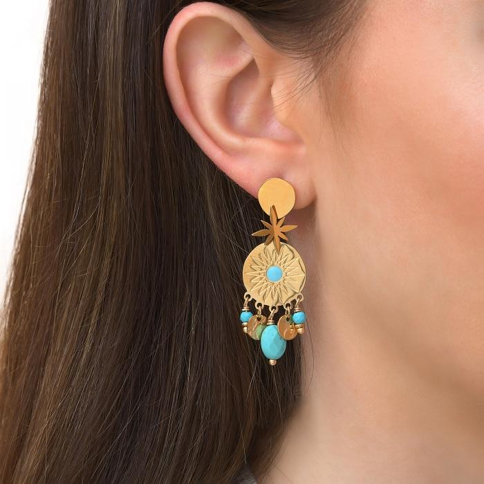 Boucles d'oreilles pampilles turquoise soul
