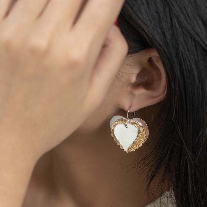 Boucles d'Oreilles Médaillons L'Essence du Cœur Ivoires