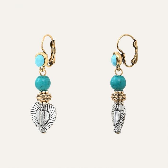 Boucles d'Oreilles L'Essence du Cœur Perles Turquoises