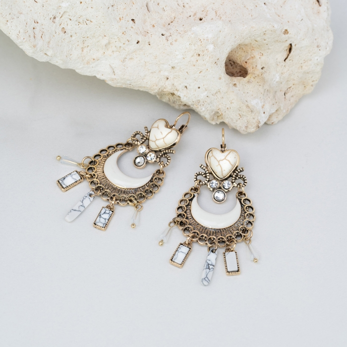 Boucles d'oreilles Pampilles Indian Song Blanches