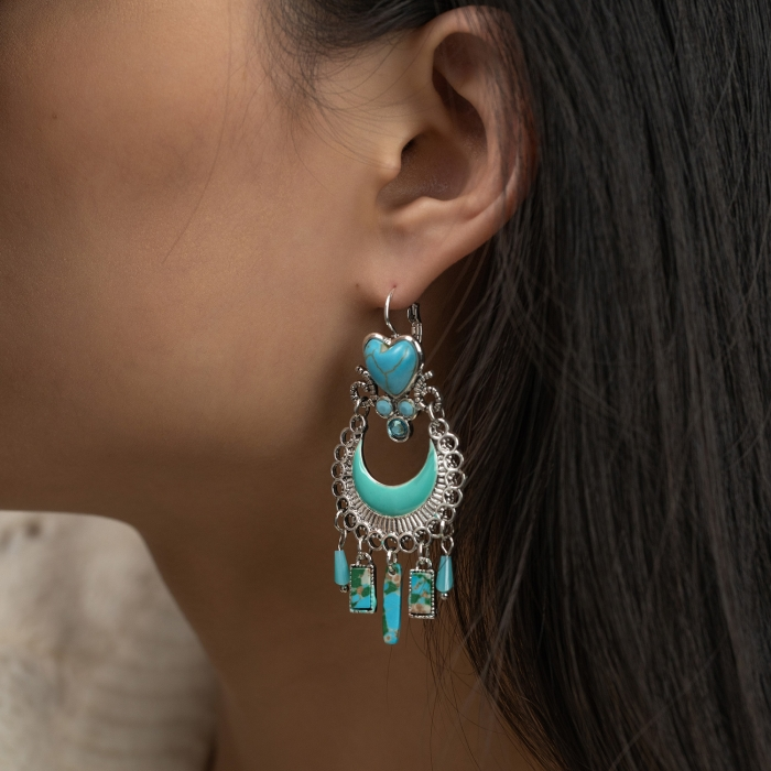 Boucles d'oreilles Pampilles Indian Song Turquoises