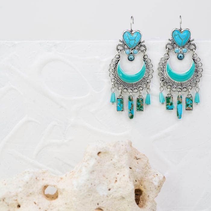 Boucles d'oreilles Pampilles Indian Song Turquoises