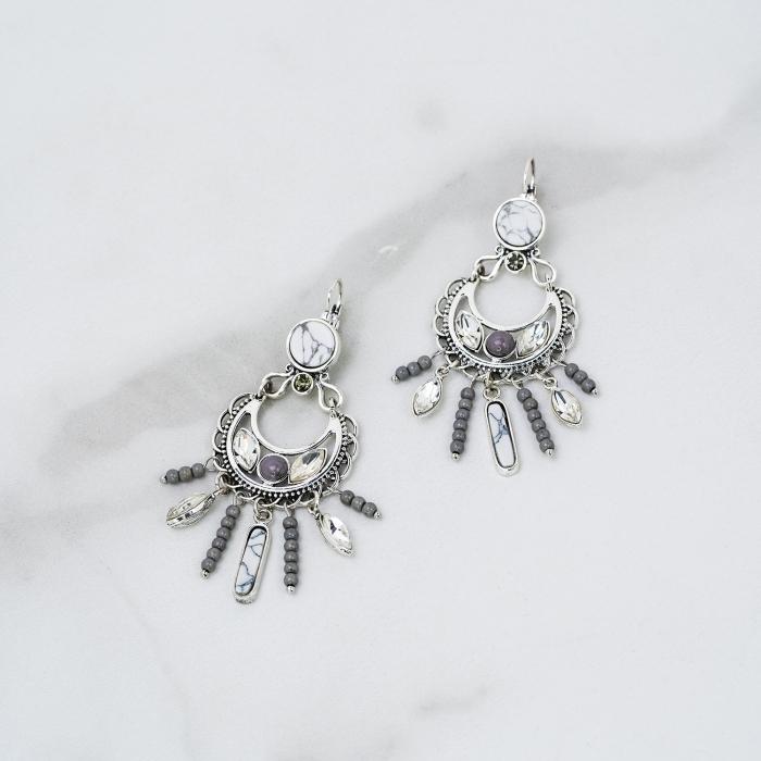 Boucles d'Oreilles Pampilles Perles Indian Song Grises
