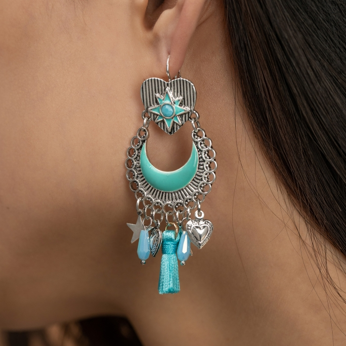 Boucles d'Oreilles Pompom Indian Song Turquoise