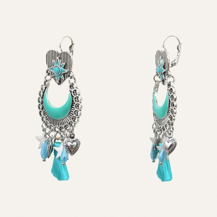Boucles d'Oreilles Pompom Indian Song Turquoise