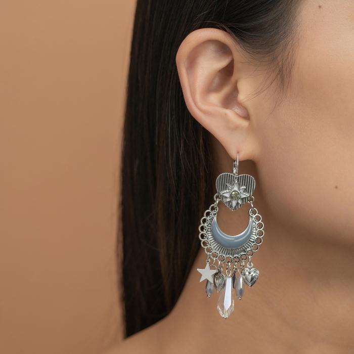 Boucles d'oreilles Pampilles Cristaux Indian Song Grises