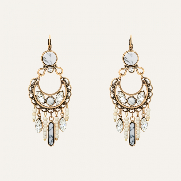 Boucles d'oreilles Pampilles Perles Indian Song Blanches