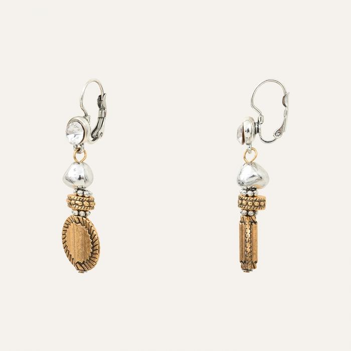 Boucles d'Oreilles Pendantes Médaille L'Essence du Cœur Argent
