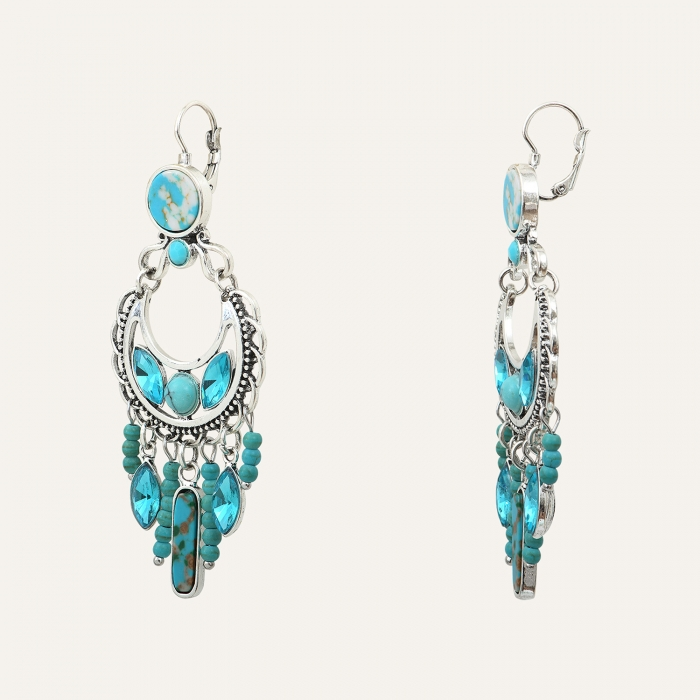 Boucles d'Oreilles Pampilles Perles Indian Song Turquoises