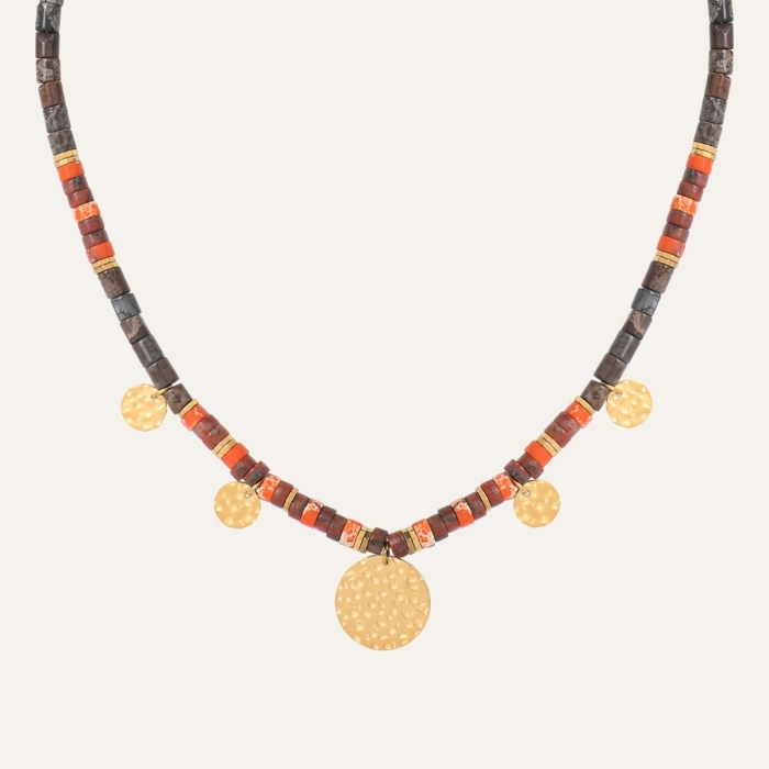 Collier Médaillons Californie Orange