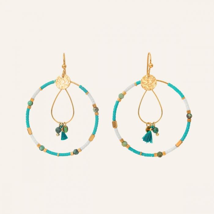 Créoles pompon gypset turquoise