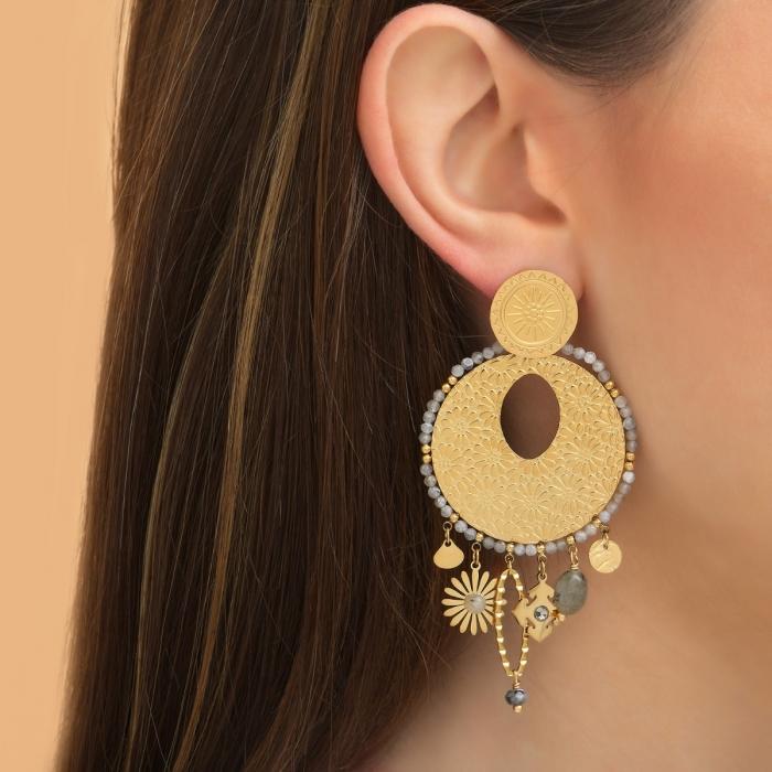 Boucles d'oreilles Fleur Pampilles