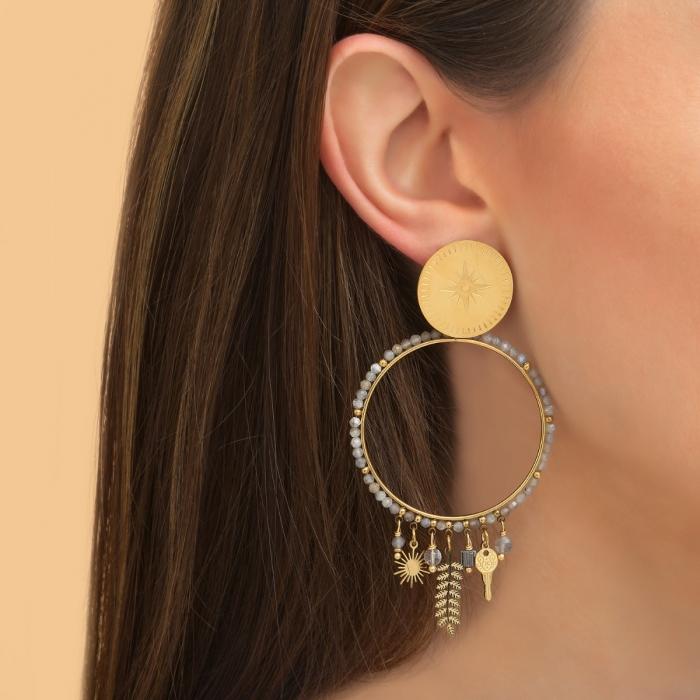 Boucles d'oreilles Feuille Pampilles