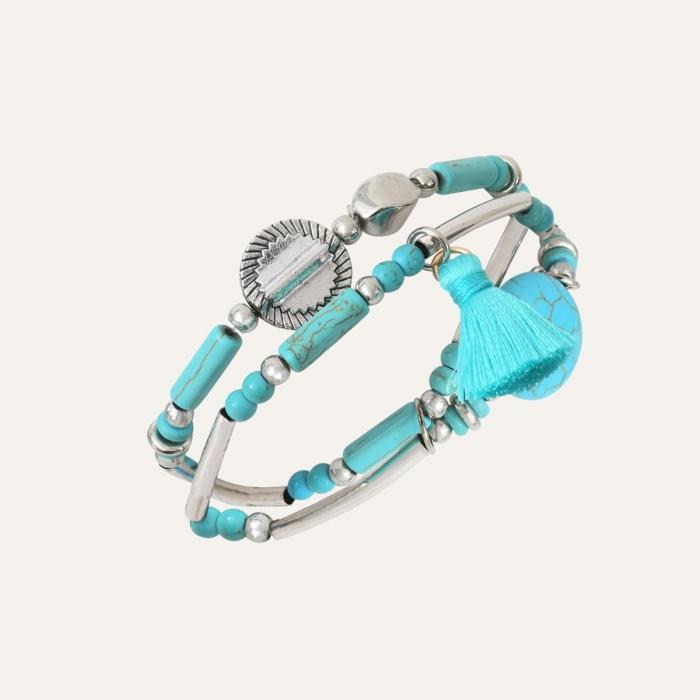 Bracelet 2 Rangs Pompons Ethnic Turquoise