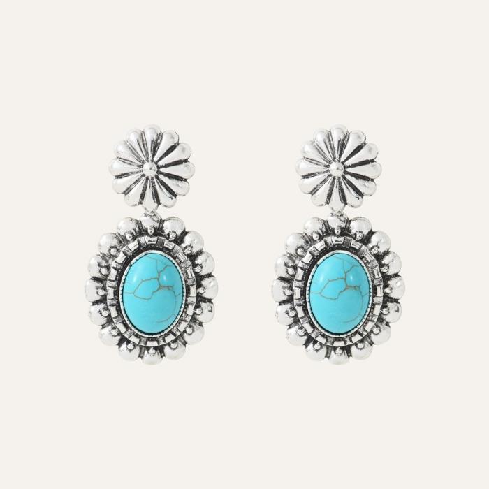 Boucles d'oreilles Cabochon Ethnic Turquoise