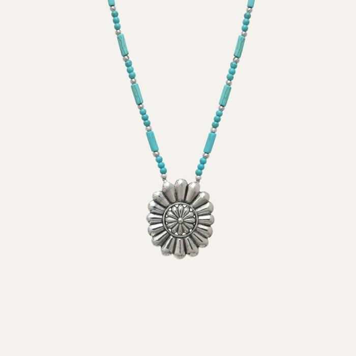 Collier Fleur Ethnic Turquoise
