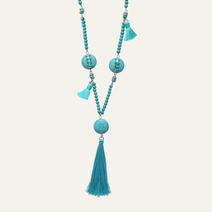 Sautoir Pompons Ethnic Turquoise