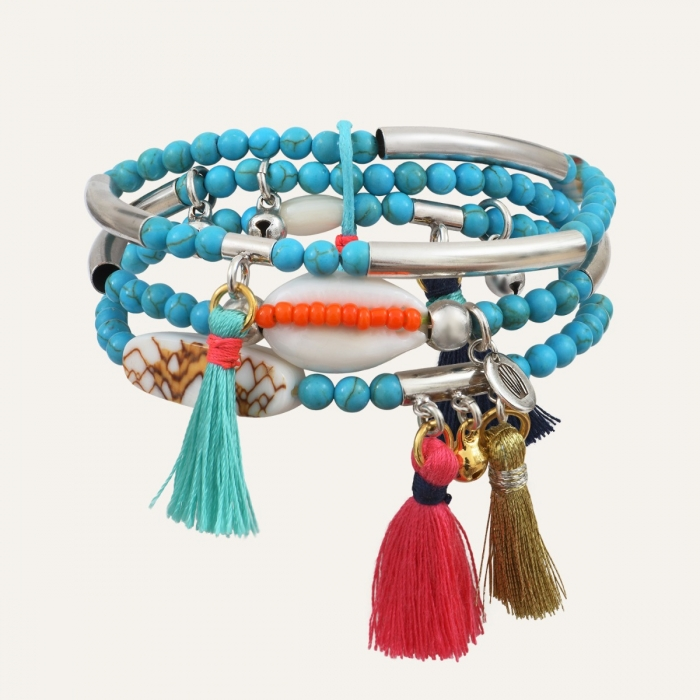 Bracelet 3 rangs Argenté Goa