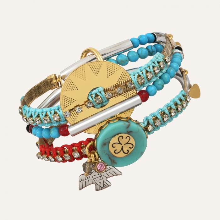 Bracelet 3 rangs Bicolore Ibiza