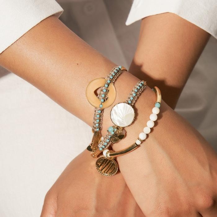 Bracelet 3 rangs Doré Ibiza
