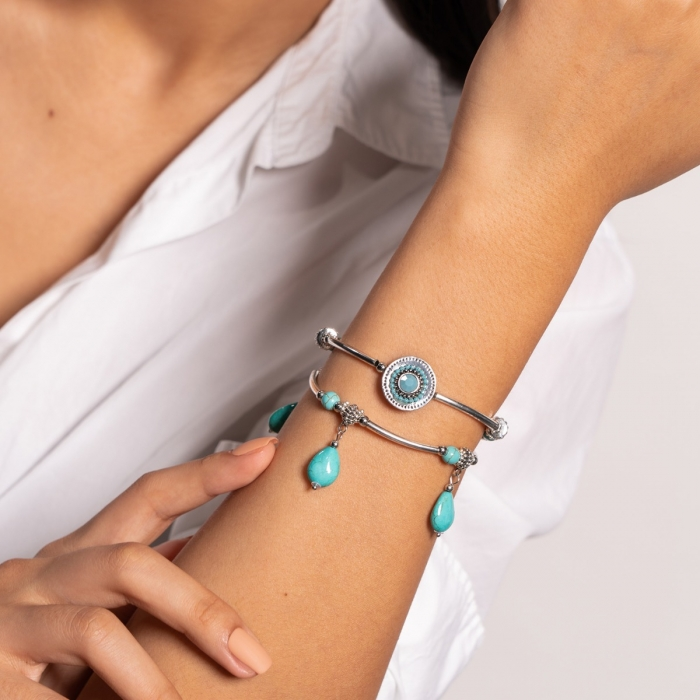 Bracelet double rang attrape-rêve turquoise Indian song