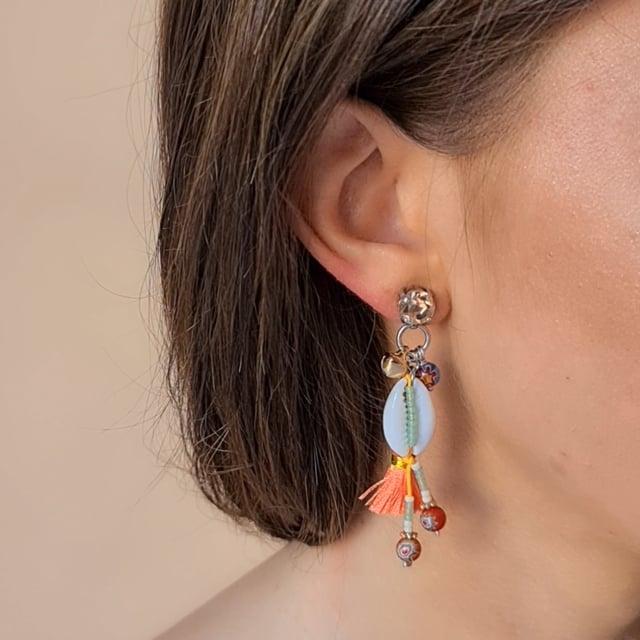 Video bijou : Boucles d'oreilles coquillage Goa