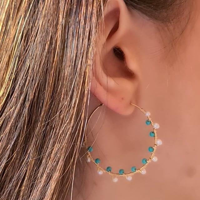 Créoles esprit bohème turquoise