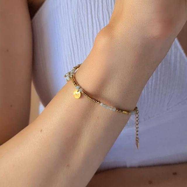 Video bijou : Bracelet esprit boheme vert d'eau