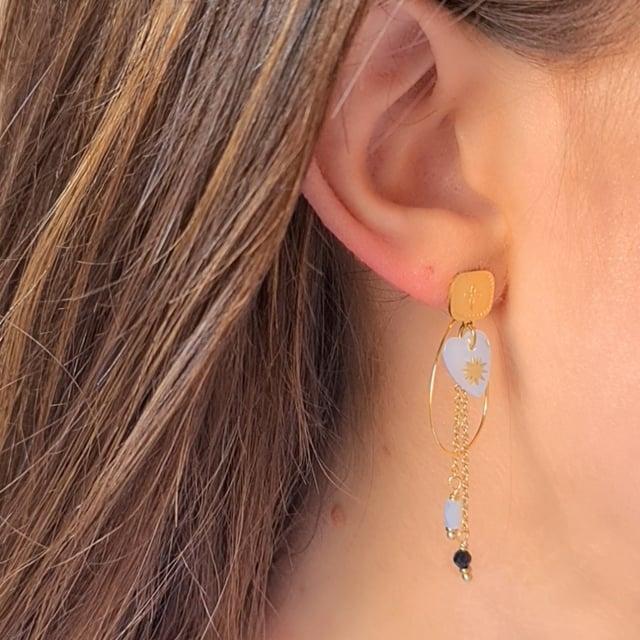 Video bijou : Boucles d'oreilles pendantes douceur nacrée