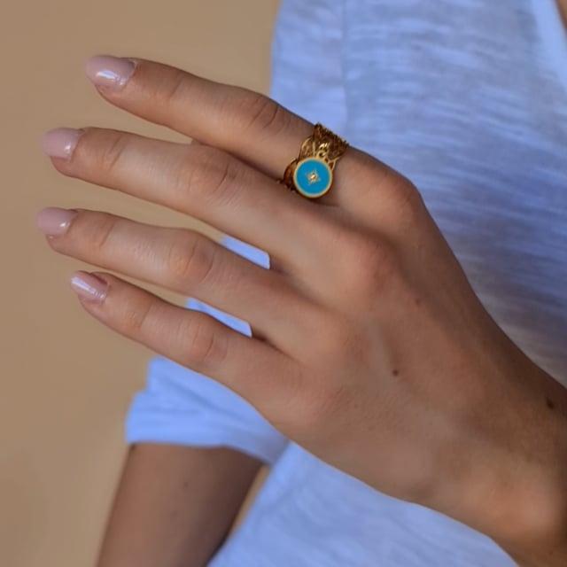 Video bijou : Bague dentelle turquoise soul