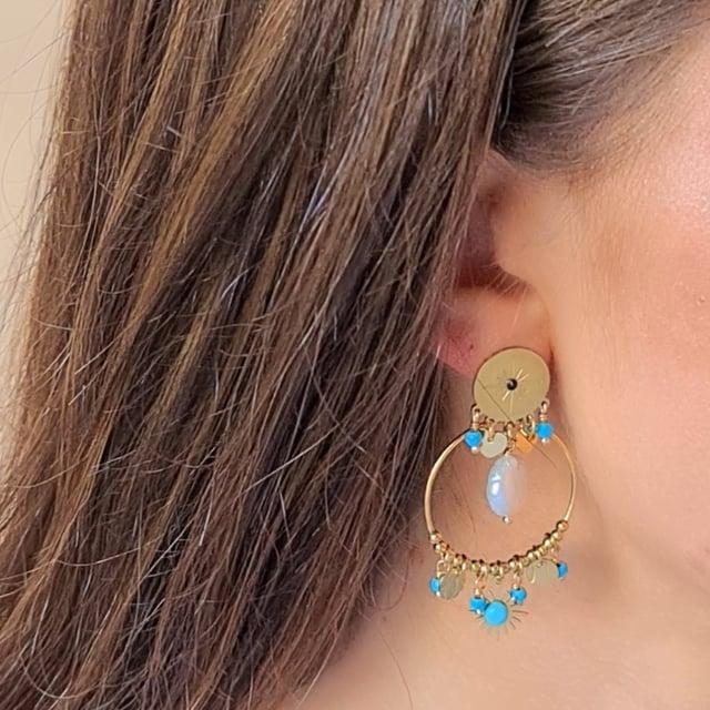 Video bijou : Boucles d'oreilles perles et pampilles turquoise soul