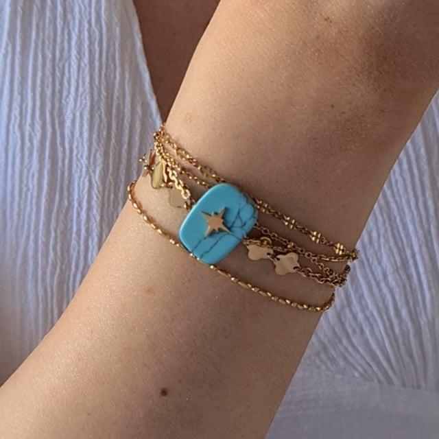 Video bijou : Bracelet 4 rangs turquoise soul