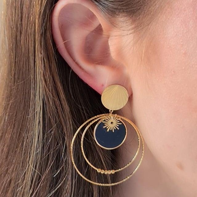 Video bijou : Boucles d'oreilles façon créoles  soleil noir
