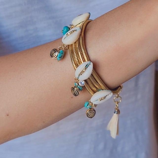 Bracelet coquillages et pampilles turquoises Raphias Raffinés
