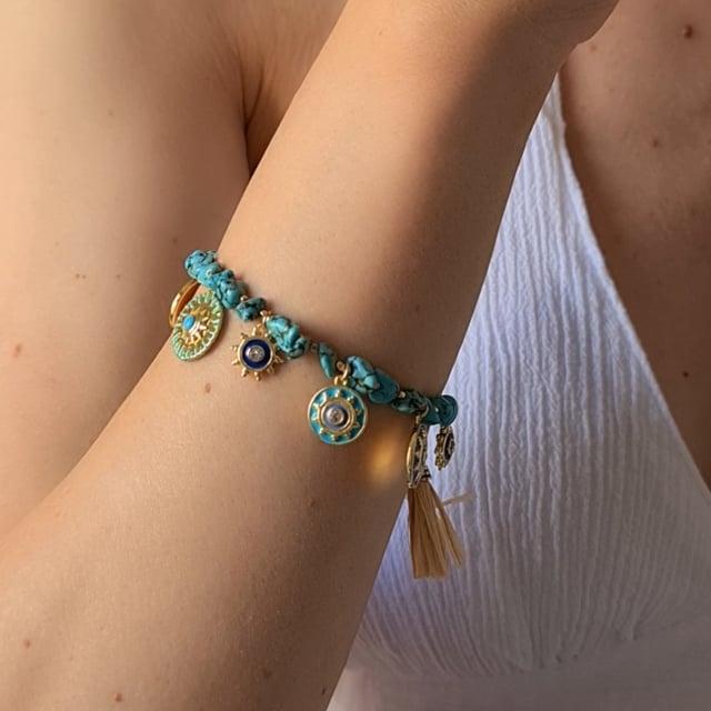 Video bijou : Bracelet turquoises Raphias Raffinés