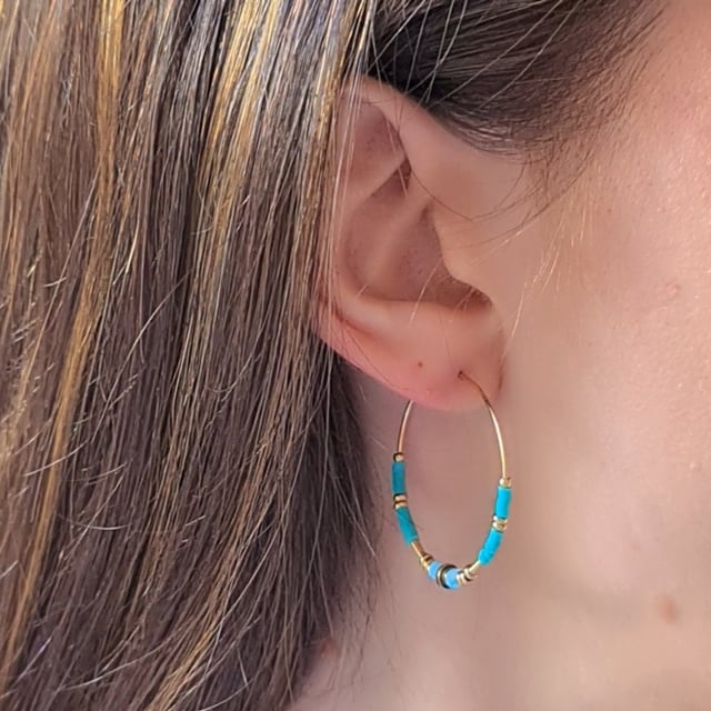 Video bijou : Créoles gypset turquoise